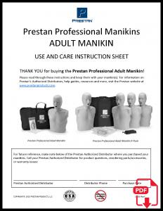 PRESTAN Professional Adult Manikin Instruction Sheet