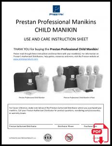 PRESTAN Professional Child Manikin Instruction Sheet